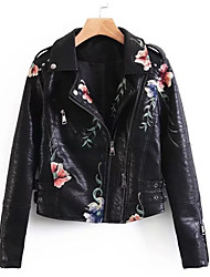 cheap -Women's Going out Simple Winter Fall Leather Jacket,Print Shirt Collar Long Sleeve Regular PU Embroidered