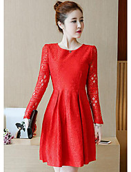 cheap -Women's Plus Size Going out Cotton A Line / Lace Dress - Solid Colored / Spring / Fall