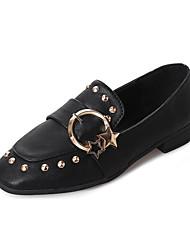 abordables -Femme Chaussures Polyuréthane Eté Confort Mocassins et Chaussons+D6148 Marche Talon Plat Bout rond Noeud pour Décontracté Noir Marron