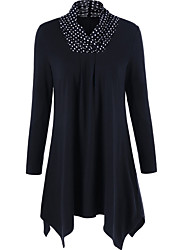 cheap -Women's Holiday Going out Vintage Spring Fall Blouse,Solid Polka Dot Turtleneck Long Sleeve Cotton Polyester Thin
