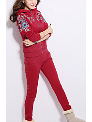 cheap -Women's Casual/Daily Chinoiserie Winter Fall Set Pant Suits,Geometric Hooded Long Sleeves Cotton