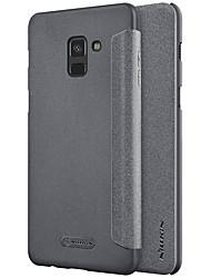 abordables -Funda Para Samsung Galaxy A8 2018 A8 Plus 2018 Flip Congelada Color sólido Dura para