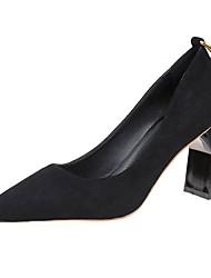 Недорогие -Для женщин Обувь Нубук Весна Удобная обувь Обувь на каблуках На толстом каблуке Заостренный носок для Повседневные Черный Оранжевый Хаки
