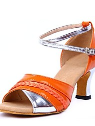cheap -Latin Shoes Leatherette Sandal Chunky Heel Customizable Dance Shoes Orange