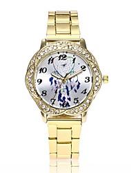 abordables -Femme Quartz Montre Diamant Simulation Montre Bracelet Chinois Montre Décontractée Alliage Bande Décontracté Montre Habillée Argent Doré