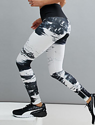 cheap -Women's Sporty Legging - Print, Galaxy Mid Waist