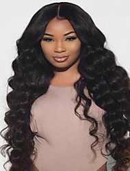 cheap -Virgin Human Hair Lace Front Wig / Glueless Lace Front Wig Brazilian Hair Wavy With Baby Hair 130% Density With Baby Hair / African American Wig Women's Short / Long / Mid Length Human Hair Lace Wig