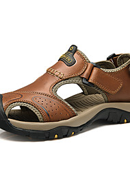 cheap -Men's Shoes PU Summer Comfort Sandals for Outdoor Brown Coffee Light Brown