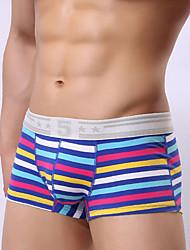 cheap -Men's Micro-elastic Striped Boxers Underwear Opaque,Cotton One-piece Suit Light Blue Gray Red Black Blue