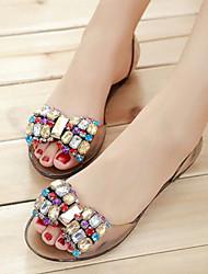 preiswerte -Damen Schuhe PVC Sommer Komfort Sandalen Flacher Absatz Geschlossene Spitze für Draussen Schwarz Champagner