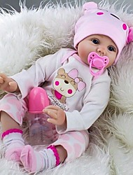 cheap -NPK DOLL Reborn Doll Baby Girl 22 inch Silicone / Vinyl - lifelike, Hand Applied Eyelashes, Artificial Implantation Blue Eyes Kid's Unisex Gift / Tipped and Sealed Nails / CE Certified / Floppy Head