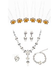Недорогие -Жен. Комплект ювелирных изделий - Искусственный бриллиант Цветы европейский, Мода Включают Шпильки для волос Свадебные комплекты ювелирных изделий Белый Назначение Свадьба Для вечеринок