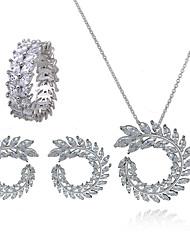 preiswerte -Damen Kreolen Halskette Zirkon Kupfer Silber Formell Hypoallergen Modisch Hochzeit Geburtstag 1 Halskette 1 Ring Ohrringe Modeschmuck