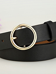 cheap -Women's Work Leather Waist Belt - Solid Colored
