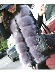 cheap -Women's Casual/Daily Simple Winter Vest,Solid Asymmetrical Long Sleeves Regular Fox Fur