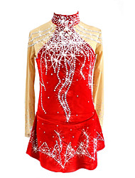 abordables -Robe de Patinage Artistique Femme Fille Patinage Robes Rouge Spandex Tenue de Patinage Paillette Manches Longues Patinage Artistique