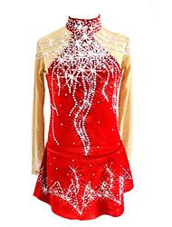 baratos -Vestidos para Patinação Artística Mulheres Para Meninas Patinação no Gelo Vestidos Vermelho Roupa para Patinação Lantejoula Manga Longa