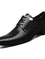 baratos -Homens sapatos Couro Ecológico Primavera Outono Conforto Oxfords para Casual Preto Azul
