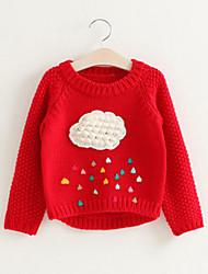 preiswerte -Mädchen Pullover & Cardigan Patchwork Kunstseide Frühling Herbst Langarm Einfach Niedlich Rote Grau