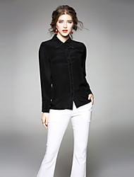 baratos -Mulheres Camisa Social - Trabalho Sólido Colarinho de Camisa