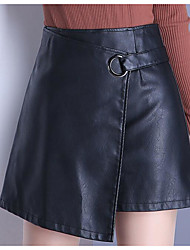 cheap -Women's Daily Short / Mini Skirts, Simple Bodycon PU Solid Summer