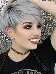 cheap -Women Human Hair Capless Wigs Medium Auburn Silver Natural Black Short Straight Pixie Cut Side Part