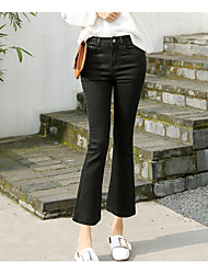 cheap -Women's Cotton Wide Leg Jeans Pants - Solid Colored High Rise