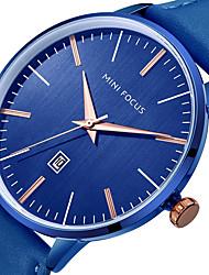 abordables -Hombre Reloj Casual Reloj de Pulsera Japonés Cuarzo Calendario Reloj Casual Cuero Auténtico Banda Casual Cool Minimalista Negro Azul