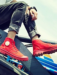 cheap -Men's Combat Boots Canvas Spring / Fall Boots Booties / Ankle Boots Black / Red / Blue