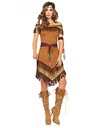 cheap -American Indian Costume Female Outfits Brown Vintage Cosplay Chinlon Nylon Short Sleeves Cap Mid Thigh Mini