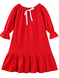 cheap -Girl's Party Daily Solid Dress, Cotton Polyester Spring Summer Long Sleeves Casual Boho White Red