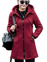 abordables -Sweat à capuche Femme Quotidien Couleur Pleine Capuche Micro-élastique Coton Modal Manches longues Automne