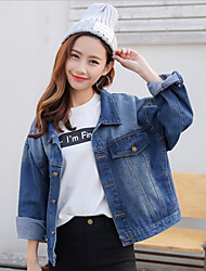 cheap -Women's Vintage Cotton Denim Jacket - Solid Colored, Pleated / Winter