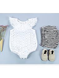 abordables -bébé Une-Pièce Fille Quotidien Couleur Pleine Coton Fibre de bambou Printemps Sans Manches Rétro Blanc