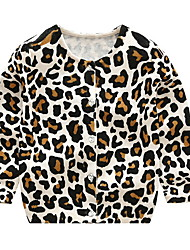 cheap -Girls' Print Leopard Sweater & Cardigan,Polyester Spring Long Sleeve Beige