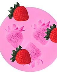 Недорогие -3 полости клубники фруктовые силиконовые формы торт помадка sugarcraft шоколад плесень