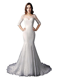 cheap -Mermaid / Trumpet Illusion Neckline Court Train Lace Wedding Dress with Buttons Lace by