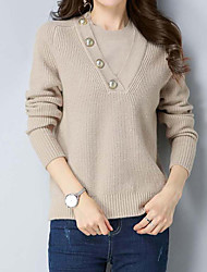 Недорогие -Жен. Однотонный Простой Вязаная ткань Пуловер, На каждый день Длинный рукав Круглый вырез Зима Осень