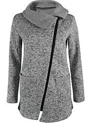 preiswerte -Damen Rollkragen Kapuzenshirt Solide Baumwolle