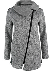 cheap -Women's Cotton Hoodie & Sweatshirt - Solid Colored Turtleneck