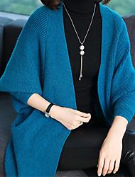 preiswerte -Damen Langarm Lang Strickjacke-Solide V-Ausschnitt