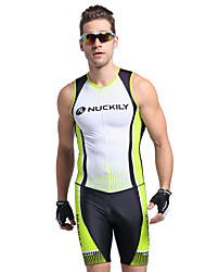 cheap -Nuckily Men's Short Sleeve Triathlon Tri Suit - Green Geometic Bike Anatomic Design, Ultraviolet Resistant, Breathable Polyester / Spandex