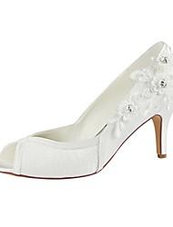 preiswerte -Damen Schuhe Stretch - Satin Frühling Sommer Pumps Hochzeit Schuhe Stöckelabsatz Peep Toe Kristall für Hochzeit Party & Festivität