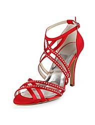 preiswerte -Damen Schuhe Seide Frühling Sommer Pumps Hochzeit Schuhe Stöckelabsatz Peep Toe Strass Schnalle für Hochzeit Party & Festivität Rot