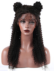 abordables -Cabello humano Encaje Frontal Peluca Cabello Peruano Kinky Curly Peluca Con mechones 250% Entradas Naturales Mujer Media / Larga Pelucas de Cabello Natural / Kinky rizado