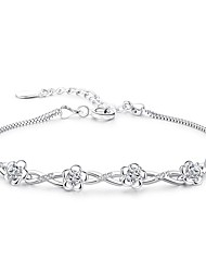 cheap -Women's Chain Bracelet Cubic Zirconia Fashion Lovely Alloy Flower Jewelry Daily Formal Costume Jewelry Silver Purple