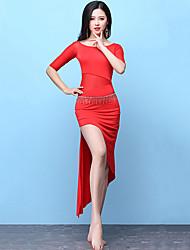abordables -Danse du ventre Robes Femme Entraînement Spandex Fendue Demi Manches Taille haute Robe