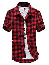 cheap -Men's Cotton Shirt - Check / Short Sleeve