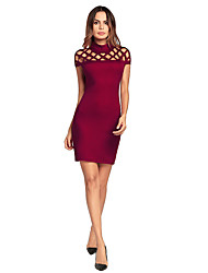 cheap -Women's Party Vintage Sexy Bodycon Above Knee Dress,Solid Cut Out Stand Short Sleeves Spring Summer High Waist