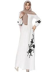 abordables -Femme Jalabiyah Abaya Robe Couleur Pleine Maxi